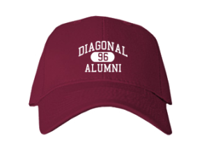 Diagonal High School Embroidered Baseball Caps
