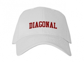 Diagonal High School Kid Embroidered Baseball Caps