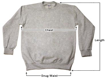 Unisex Crewneck Sweatshirts sizing guide