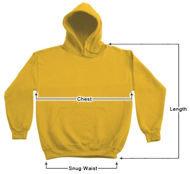 Unisex Hoodies sizing guide
