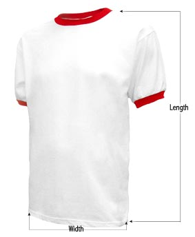 Men's Ringer t-shirt sizing guide