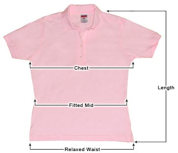 Women's Polo Shirt sizing guide