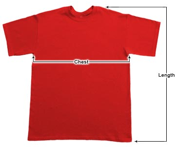 Youth T-shirts Sizing Chart
