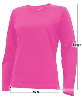 Women's long sleeve t-shirt sizing guide