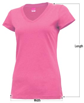 Women's v-neck t-shirt sizing guide
