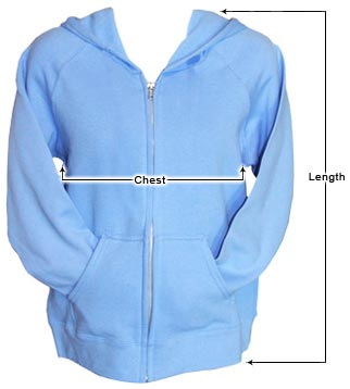 Women's Zip-up Hoodies sizing guide